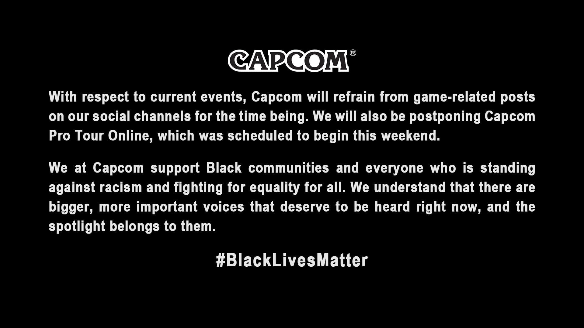 A CAPCOM em respeito ao movimento Black Lives Matter decide não iniciar o seu circuito de torneio online.