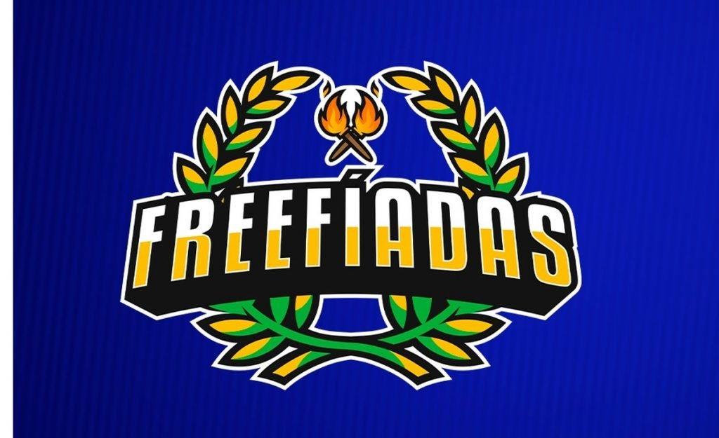 Símbolo das Freefíadas em amarelo, com uma coroa de louros atrás