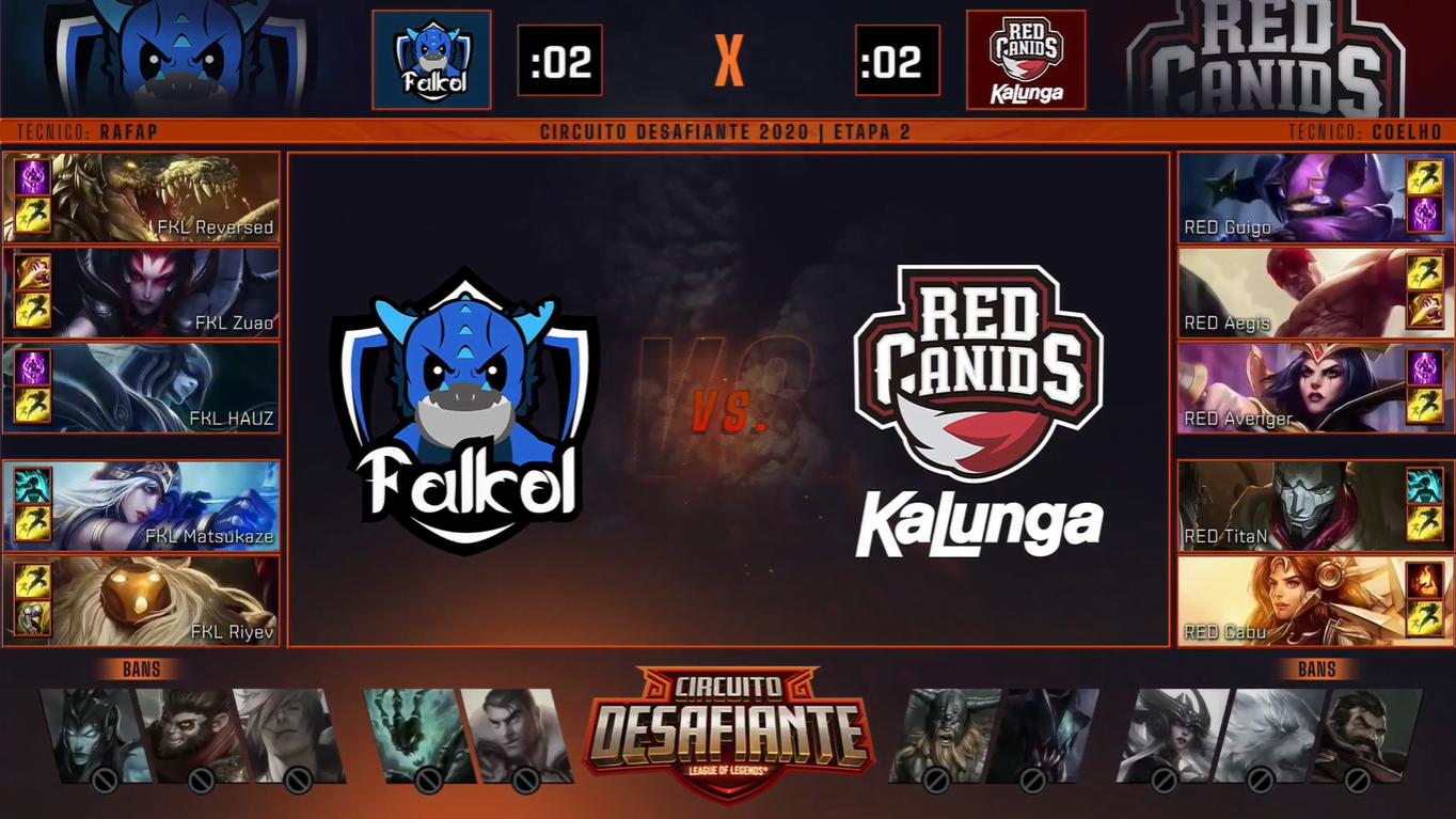Picks e bans do jogo entre Falkol e RED Kalunga