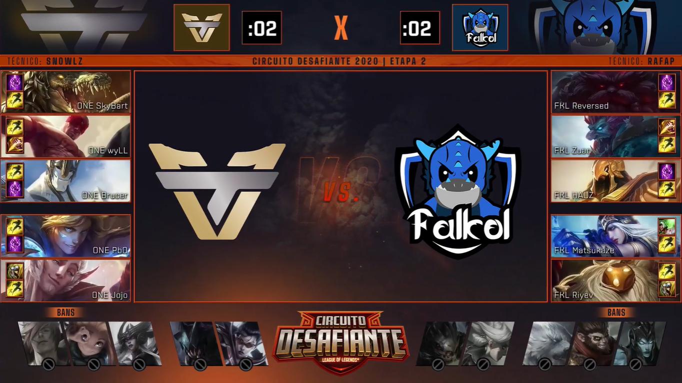 Imagem dos picks e bans do jogo entre Team oNe e Falkol