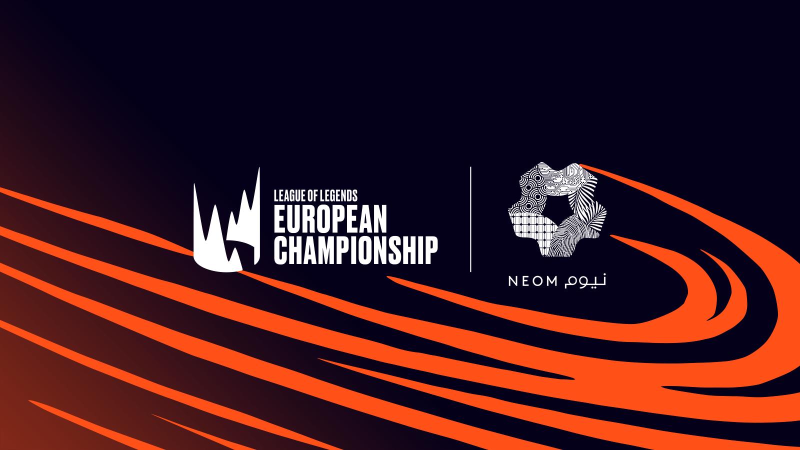 O logo da LEC ao lado do logo da NEOM, nova parceira da liga..