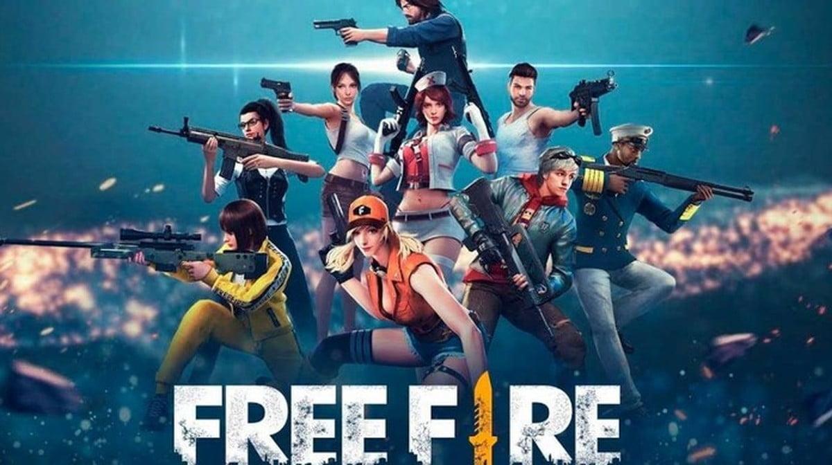 Imagem de divulgação do Free Fire, com os personagens do jogo e o logo FREE FIRE estilizado embaixo.