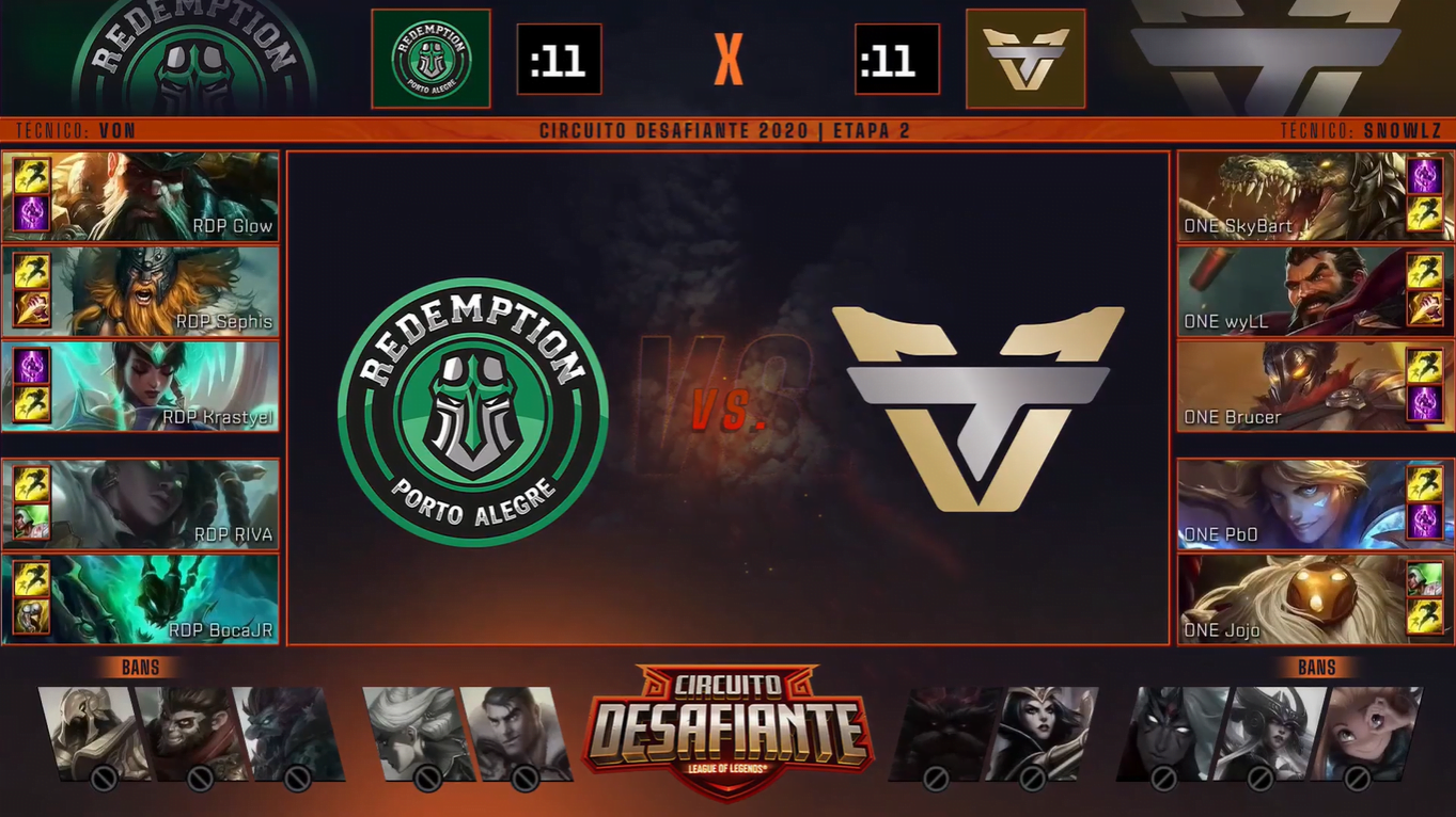 Picks e bans da partida entre Redemption e Team oNe