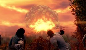 Cena mostra uma explosão em cogumelo, retirada de um game