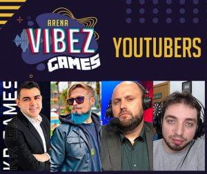 Youtubers convidadados para o Arena Vibez Game. Pai Também Joga, Bruno Clash, Kr Games e Nofaxu