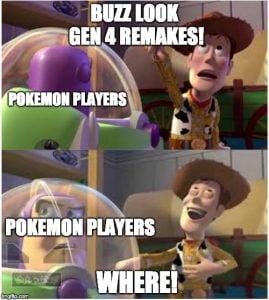 Meme ironizando a demora de um remake ser anunciado