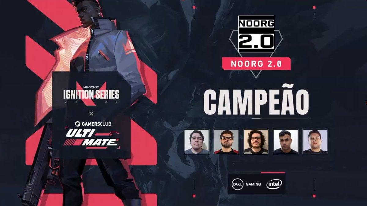 NoOrg2.0 Gamers Club Fenix posando em um fundo preto e vermelho com as logos do torneio campeão em branco fotos dos jogadores da equipe ganhadora