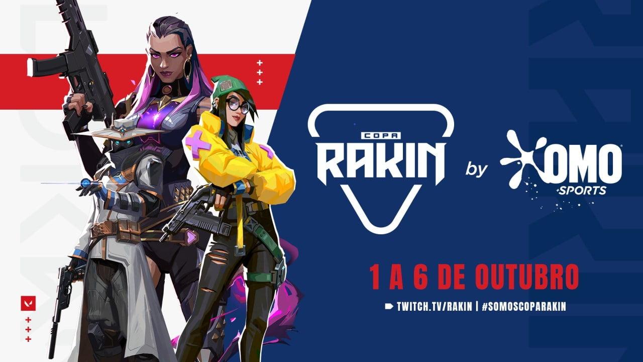 Valorant Copa Rakin Reyna, Killjoy e Cypher e um fundo azul branco e vermelho, logos das copa Rakin e da Omo Sports em branco com datas em vermelho