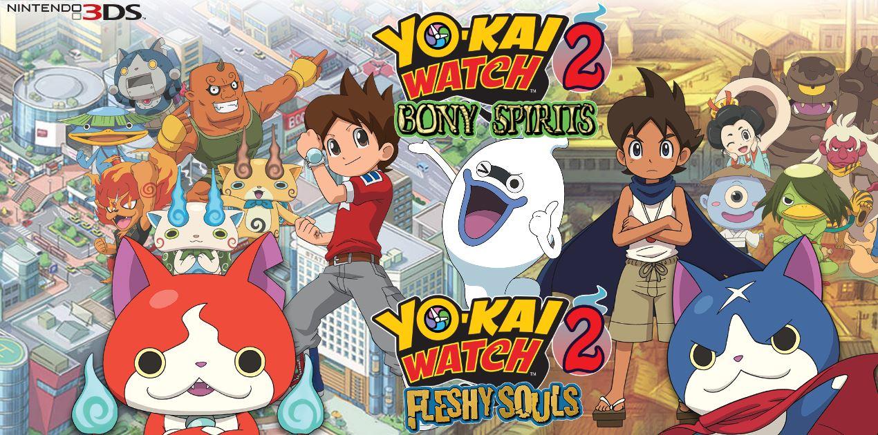 Imagem com os personagens de yo-kai watch 2, desde os principais aos jogáveis