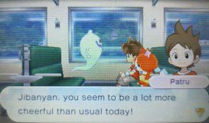 Diálogo dentro de uma viagem de trem em Yo-kai Watch