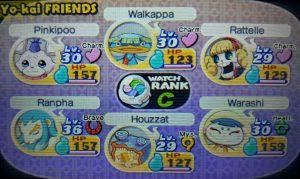 Imagem mostrando a composição de um time na roleta de Yo-kai Watch