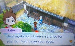 Imagem mostrando um diálogo do game, parte de uma quest de Yo-kai Watch