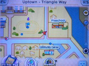 Imagem mostrando o mapa de Uptown Springdale com um símbolo de quest ao canto superior esquerdo
