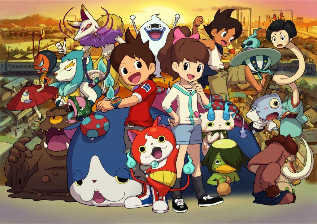 Imagem com os protagonistas de Yokai Watch, Nate e Katie, e vários yokai