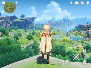 Imagem com um dos personagens do jogo ao centro, mostrando um mapa vasto composto por um vale e uma cidade