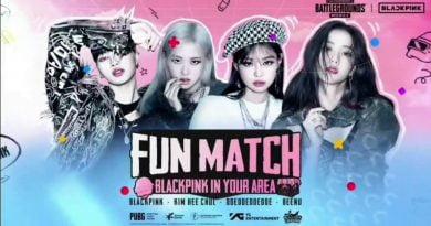 """Imagem apresentando as quatro principais integrante do grupo BLACKPINK apresentando o nome do evento """"Fun Match"""" em cima das integrantes"""