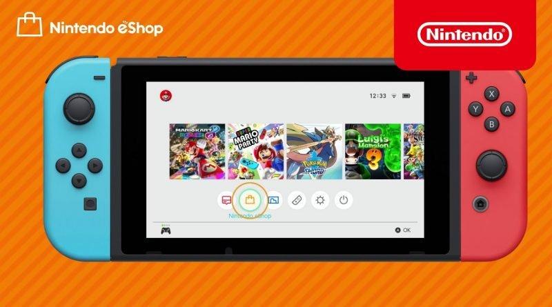 Imagem ilustrativa da Nintendo eShop e alguns jogos da empresa