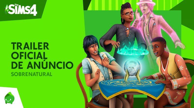 Imagem de anúncio do pacote The Sims 4: Sobrenatural, com 3 pessoas sobre uma mesa sobre a qual tem uma bola de cristal. Também tem um fantasma ao fundo