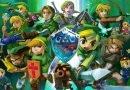Representação de diversos Link nos mais variados jogos de The Legend Of Zelda, mostrando a evolução no design do personagem