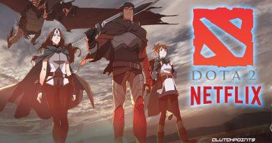Poster de anunciou com Mirana e Dragon Knight, heróis do jogo Dota 2