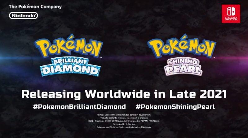 Imagem de divulgação com a logo de Pokémon Brilliant Diamond e Shining Pearl e anunciando a data de lançamento para o fim de 2021