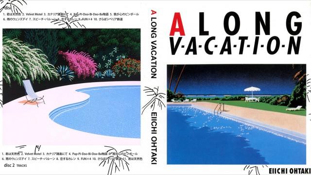 Capa de A Long Vacation mostrando o título do álbum e duas paisagens contendo uma piscina rodeada por verde