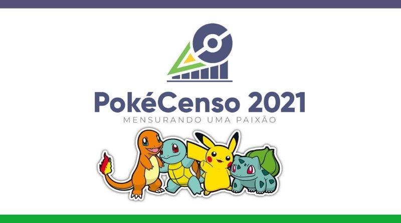 Imagem com a logotipo do PokéCenso, apresentando, além disso, chamander, squirtle, pikachu e bulbasaur, da esquerda pra direita.
