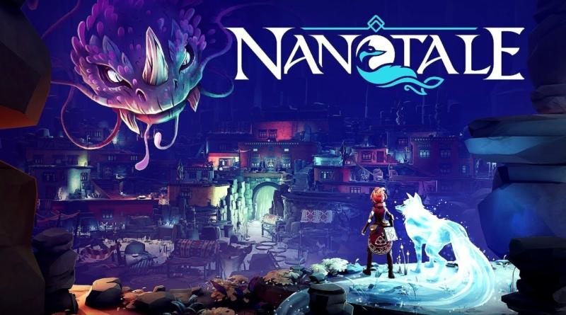 A imagem mostra uma garota ruiva ao lado de uma raposa espiritual à direita, enquanto há um dragão à esquerda. No canto superior direito, está escrito o título do game: Nanotale.
