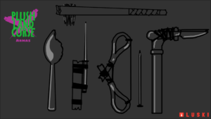Imagem com alguns exemplos de objetos utilizados em batalhas. Da esquerda para a direita, de baixo para cima: uma colher retalhada, um espeto junto de um pedaço de madeira; uma tesoura aberta com as duas cavidades ligadas por uma corda e um prego como flecha; um cano com facas ligadas nele, e, por fim, em cima de todas essas, um pedaço de madeira grande com pregos colocados na sua ponta