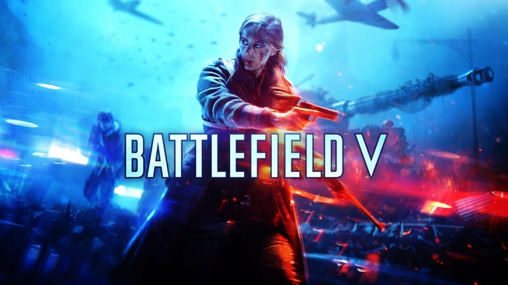 """Imagem mostrando uma garota com uma pistola na mão e o título """"Battlefield V"""" à sua frente"""