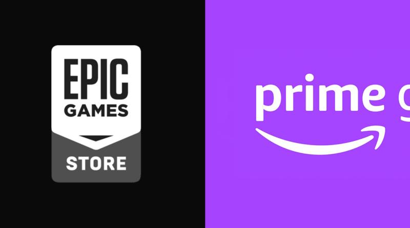 Logomarcas da Epic Games e Prime Gaming alianhadas nesta ordem, da esquerda pra direita. Ambas oferecem jogos grátis