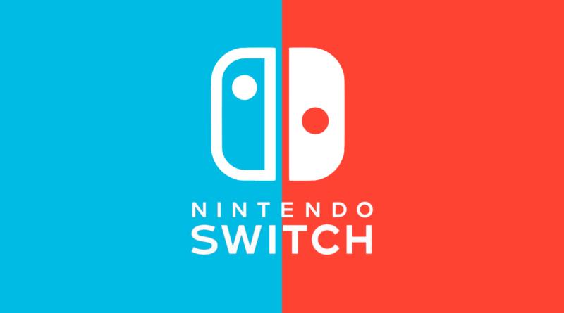 Logo do Nintendo Switch, suposto predecessor do Switch Pro. Na imagem, é possível ver um controle branco com o nome da marca logo abaixo. Na esquerda, há apenas a cor azul sólida, e na direita a cor vermelha