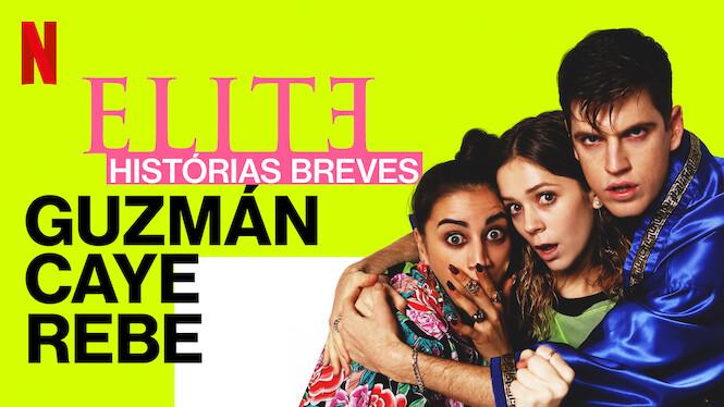 Capa do primeiro curta da série Elite, com os personagens Guzmán, Cayetana e Rebeka.