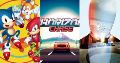 Capa dos três games anunciados pela Epic Games. Da esquerda pra direita: Sonic Mania, onde são apresentados Sonic, Knuckles e Tails em um fundo amarelo; Horizons Chase Turbo, com a logo acima de um carro vermelho andando em direção ao horizonte; e the spectrum retreat, apresentando um personagem robo com a cara esbranquecida.