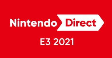 Logo da Nintendo Direct E3 2021 escrito em letras brancas em um fundo vermelho