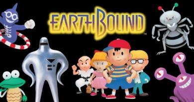 Imagem de divulgação de Earthbound mostrando, à direita, três inimigos do game (Yes Man Jr., armored frog e starman), no centro os personagens principais (Da esquerda pra direita: Poo, Paula, Ness e Jeff) e à direita outros 2 inimigos (Titanic Ant e Lesser Mook)