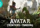 Capa monstrando muita natureza espalhada. À esquerda, está um avatar com roupas tribais e do outro um dragão verde. Abaixo, aparece o título do game: Avatar: Frontiers of Pandora, anúnciado pela Ubisoft