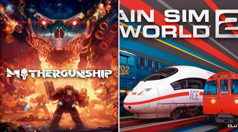 Imagem mostrando as capas de Mothergunship à direita e Train Sim World 2 à direita, ambos grátis na Epic Games. Na direita: um homem com armas nas mãos em meio ao fogo encarando uma caveira; na esquerda: um tram bala e um bonde em um fundo azul e vermelho.