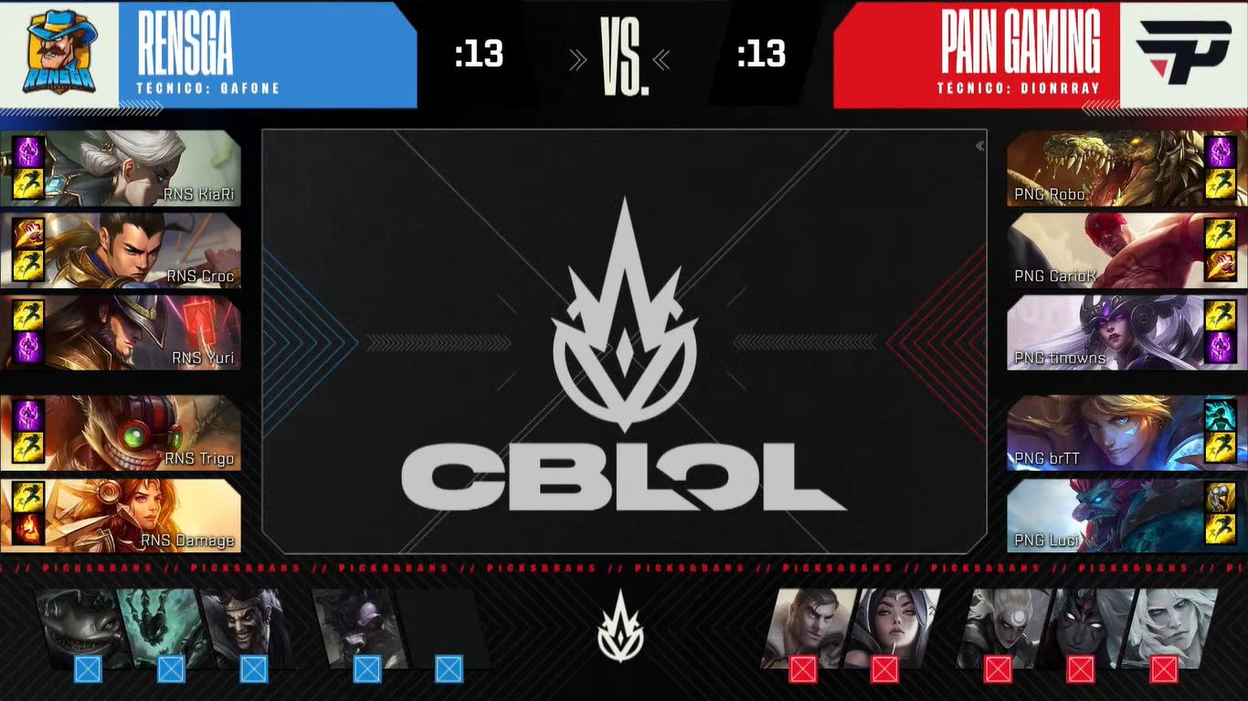 Draft do primeiro jogo das semifinais do segundo split do CBLOL 2021 paiN contra RENSGA | Reprodução/Riot Games
