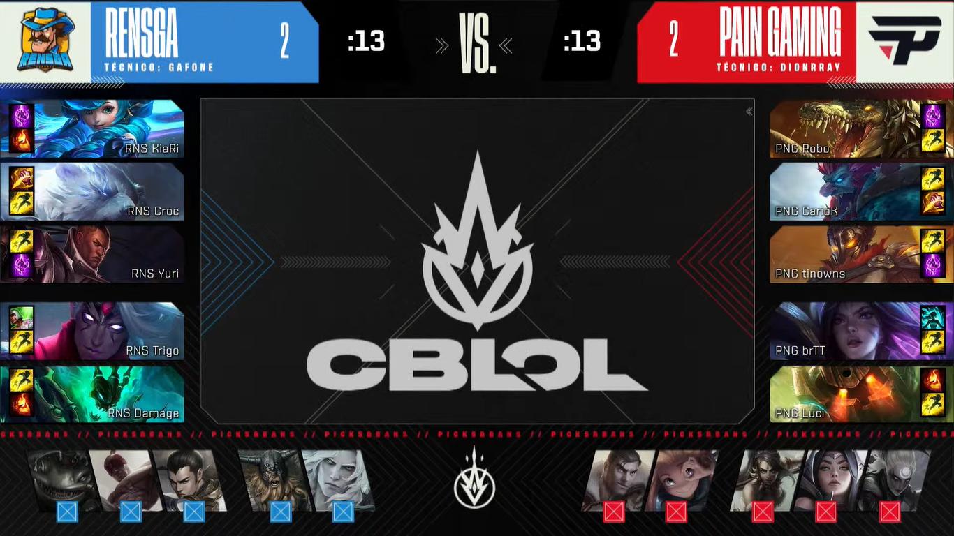 Draft do quinto jogo das semifinais do segundo split do CBLOL 2021 paiN contra RENSGA | Reprodução/Riot Games