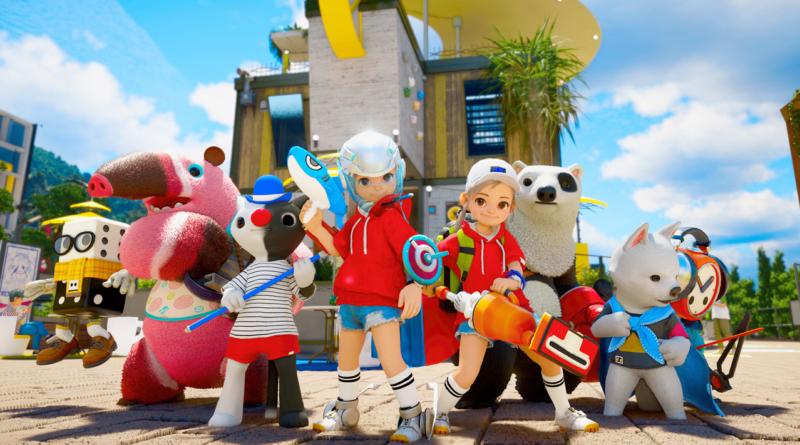 Imagem mostrando dois personagens de DokeV e seus Dokebis. Ao fundo deles, há um prédio amarelo e branco.